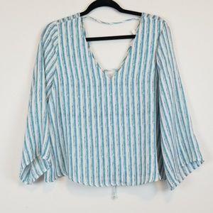 Lush striped BOHO blouse with braided back